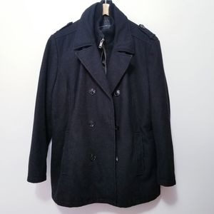 MARC NY Andrew Marc Black Wool Coat Jacket sz L